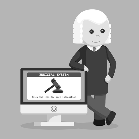 judge with judicial system in pc monitor black and white style Иллюстрация