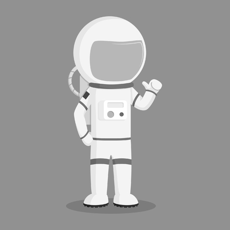 astronaut standing pose vector illustration design black and white style