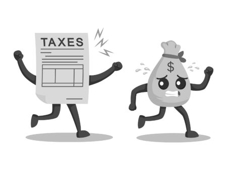 money sack character escaping from taxes black and white style