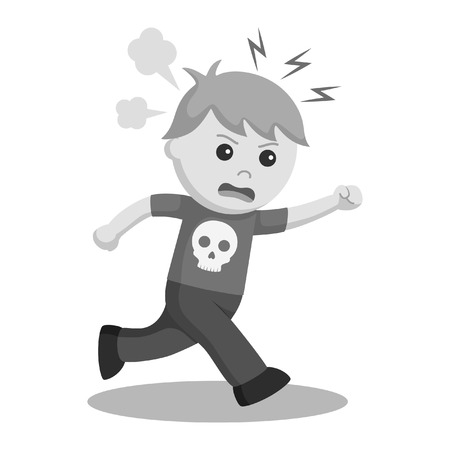 Boy running with angry expression black and white style