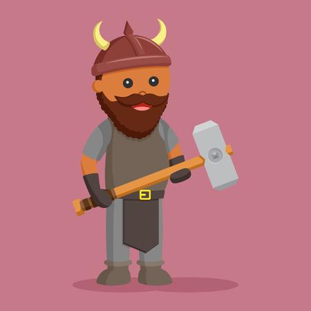 African dwarf warrior with sledgehammer Illustration