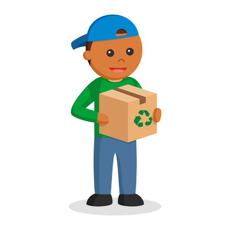 african man environmental activist with recycle box Illustration