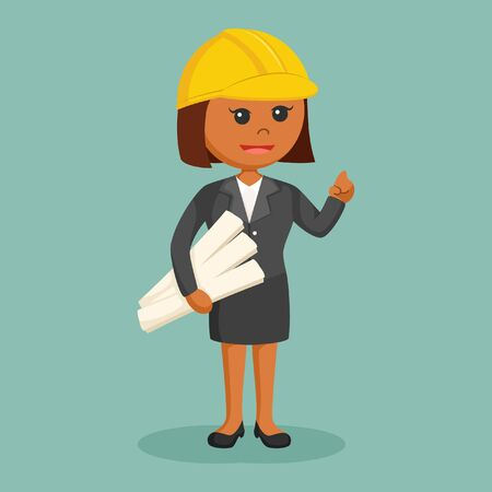 african woman engineer with roll paper Illustration