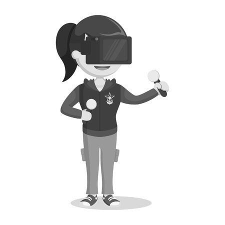 female gamer playing vr game black and white style Illustration