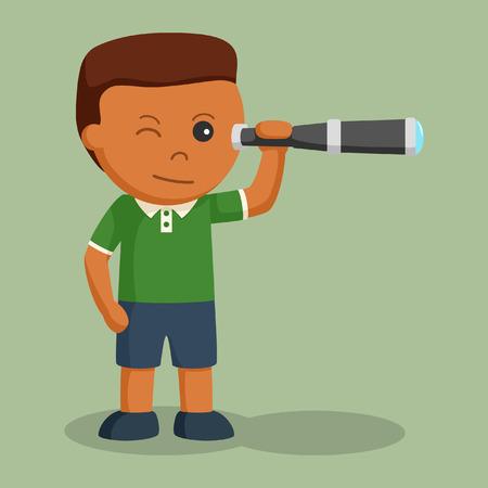African little boy using telescope