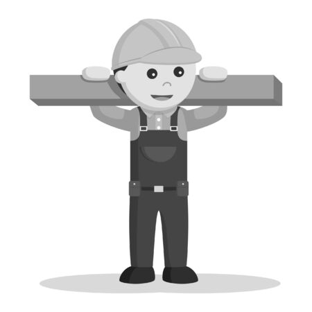 construction worker holding whiteboard black and white style