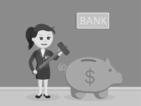 female bank teller want to break piggy bank black and white style