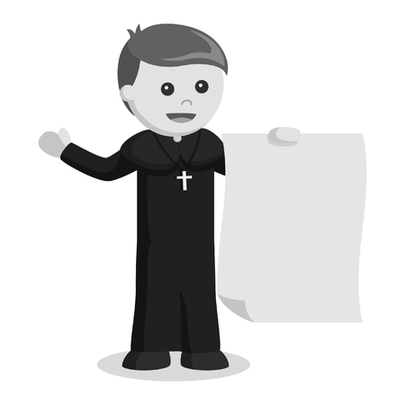 priest holding big paper black and white style