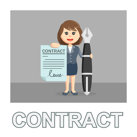 businesswoman contract photo text style
