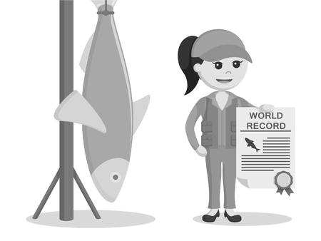 pêcheur, femme, tenue, certificat, noir blanc, style