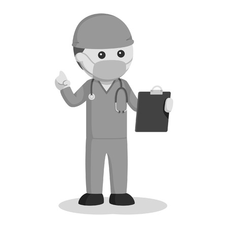 Male surgeon with clipboard black and white style Illustration