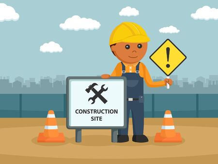 african construction worker with sign