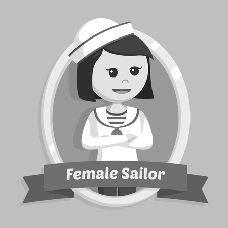 female sailor in emblem black and white style Banque d'images - 95901553