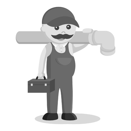 plumber holding tool box and giant pipe black and white style
