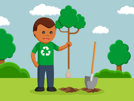 african man environmental activist planting tree