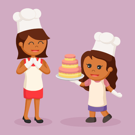 African mom and daughter making cake Illustration