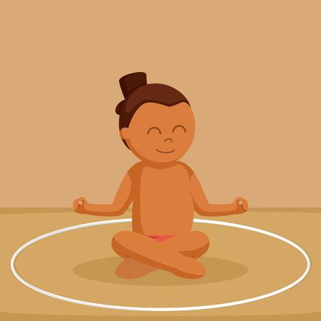 Afrikaanse sumoworstelaar mediteren