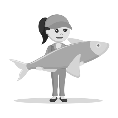 fisher woman holding giant fish black and white style