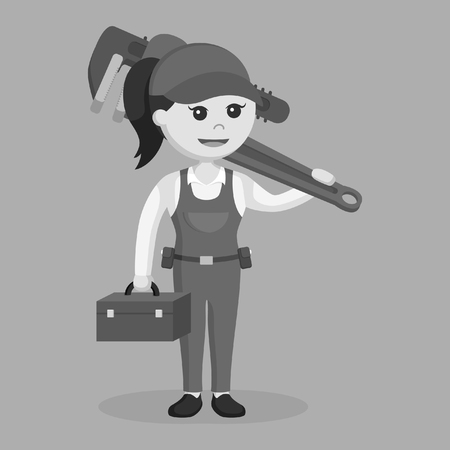 female plumber holding tool box and giant pipe wrench black and white style 일러스트