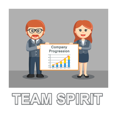 businessman man and woman holding a sign the company's progress team spirit photo text