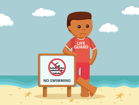 african lifeguard with no swimming sign