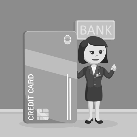 Female bank teller standing beside giant credit card black and white style
