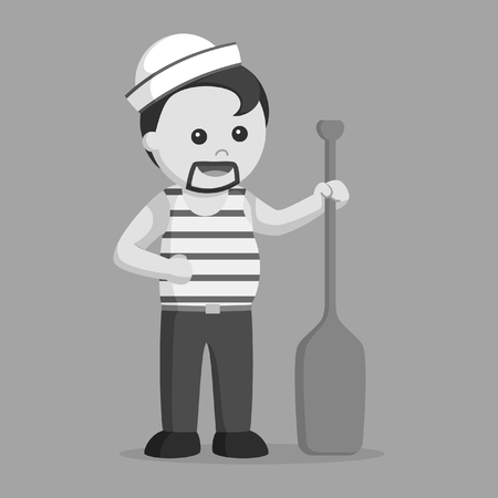 fat sailor holding paddle black and white style