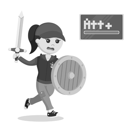 female rpg gamer running with sword and shield black and white style