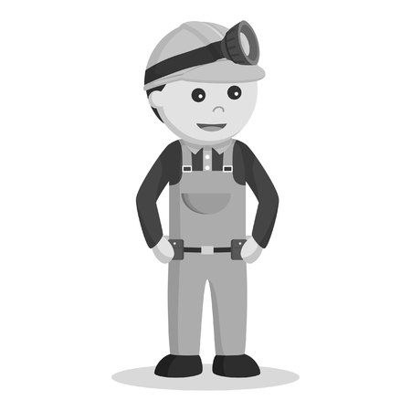 miner standing pose black and white style