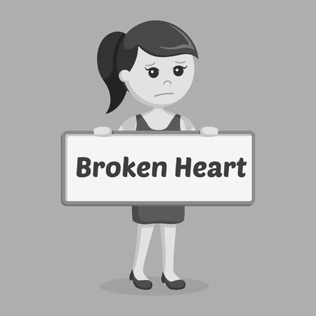 girl holding broken heart sign black and white style