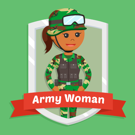 african army woman in emblem Illustration
