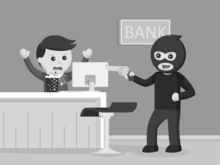 robber robbing bank black and white style Illustration