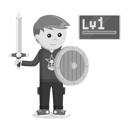 level 1 rpg gamer holding sword and shield black and white style