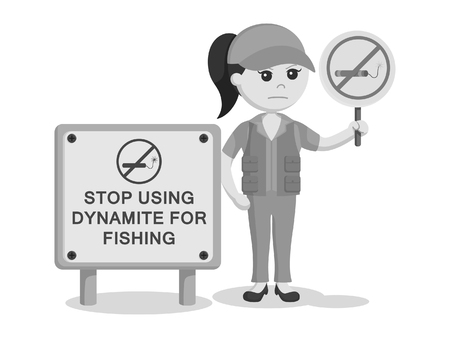 fisher woman  holding no dynamite fishing sign black and white style Illustration