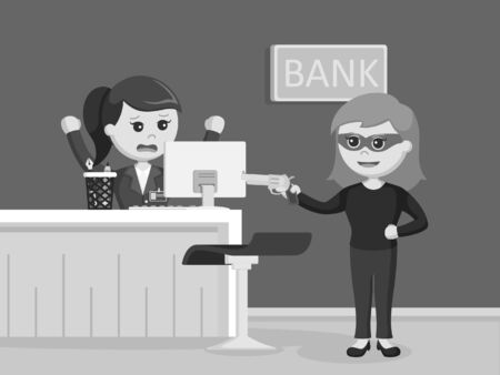 female robber robbing bank black and white style Illustration