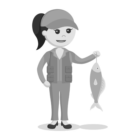 fisher woman holding fish black and white style