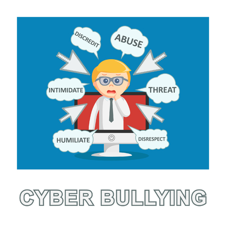 businessman cyber bullying photo text style