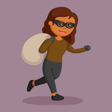 african woman thief running with sack
