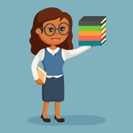 african librarian girl with book Stock Illustratie