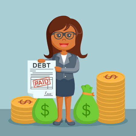 african businesswoman addressing the debt has been paid Illustration