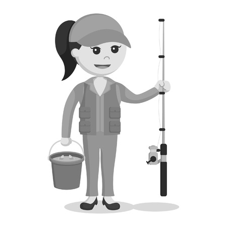 fisher woman holding bucket full of fish black and white style