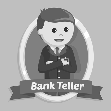 bank teller in emblem black and white style