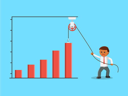 african businessman is drawing a bar graph rises