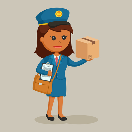 african postwoman with clipboard and parcel