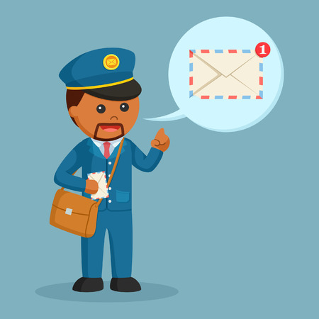 african postman with mail notification callout