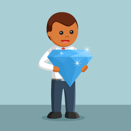african Businessman holding big blue diamond