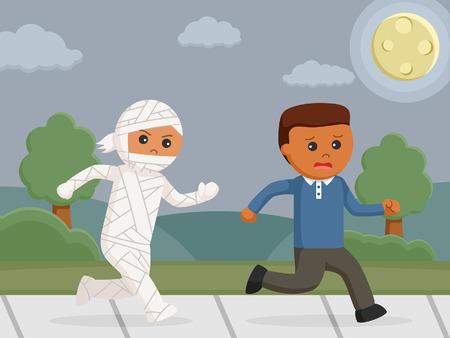 Mummy costume chasing man Illustration