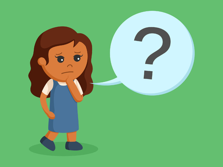 african little girl with question mark callout Illustration