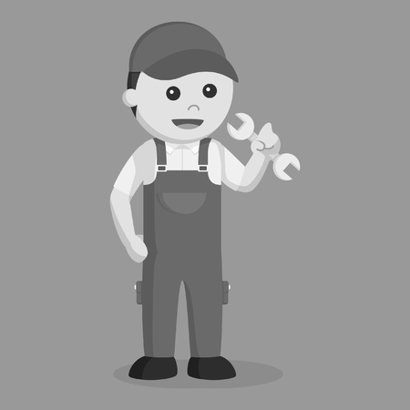 plumber black and white style 일러스트
