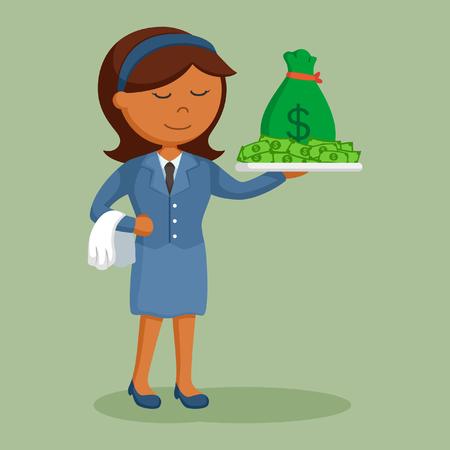 african businesswoman serving money Illustration